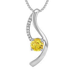 Round Yellow Sapphire and Diamond Pendant (18 in.)