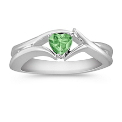 Heart Shaped Green Sapphire Ring in Sterling Silver