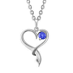 Round Kentucky Blue Sapphire and Sterling Silver Sweetheart Pendant (18 in.)