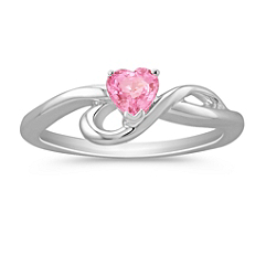 Heart-Shaped Pink Sapphire Ring in Sterling Silver