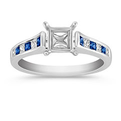 Cathedral Princess Cut Sapphire and Diamond Engagement Ring with Channel Setting