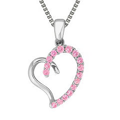 Round Pink Sapphire and Sterling Silver Sweetheart Heart Pendant (18 in.)