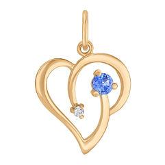 Round Diamond and Kentucky Blue Sapphire Heart Charm