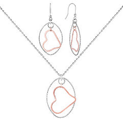 Sterling Silver Floating Heart Pendant and Earrings Two-Piece Set (18 in.)