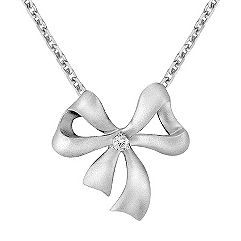 Sterling Silver Diamond Bow Pendant (18 in.)
