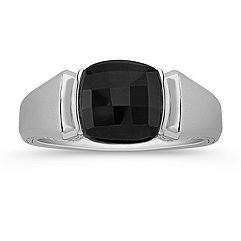 Cushion Cut Black Sapphire Ring