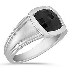Bezel-Set Cushion Cut Black Sapphire Ring