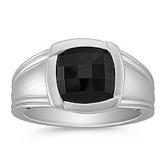 Bezel Set Cushion Cut Black Sapphire Ring