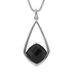 Cushion Cut Black Sapphire Pendant (18 in.)