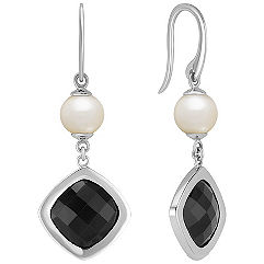 Cushion Cut Black Sapphire and 6.5mm Cultured Freshwater Pearl Earrings