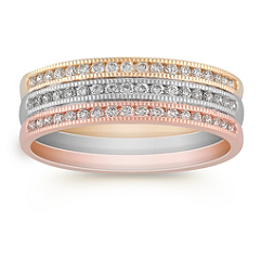 Stacked Round Diamond Ring in Tri-Tone Gold