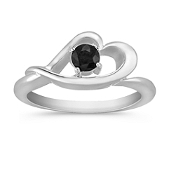 Round Black Sapphire Ring in Sterling Silver