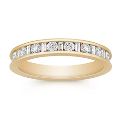 Baguette and Round Diamond Wedding Band for Her