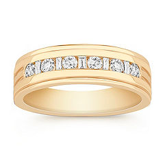 Baguette and Round Diamond Wedding Band for Him