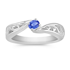 Oval Kentucky Blue Sapphire Ring in Sterling Silver