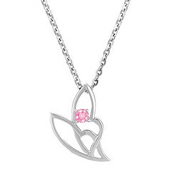 Round Pink Sapphire Pendant in Sterling Silver (18 in.)