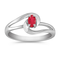 Oval Ruby Ring in Sterling Silver