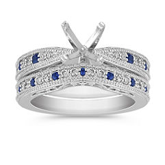 Vintage Round Sapphire and Diamond Wedding Set with Pave Setting