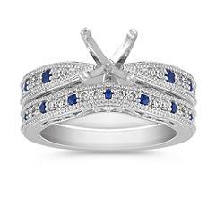 Vintage Round Sapphire and Diamond Wedding Set with Pave Setting