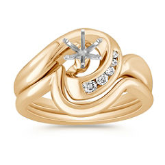Interlocking Swirl Diamond Wedding Set with Channel Setting