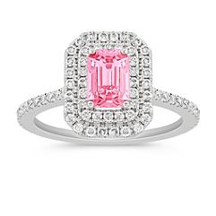 Halo Emerald Cut Pink Sapphire and Round Diamond Ring