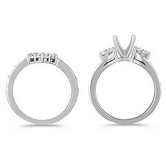 Three-Stone Swirl Diamond Wedding Set