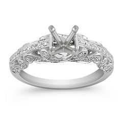 Side Swirl Vintage Diamond Engagement Ring with Pave Setting