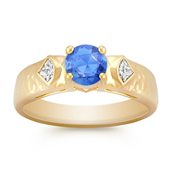 Round Kentucky Blue Sapphire and Fancy Shaped Diamond Ring