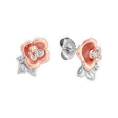 Round Diamond Earrings in 14k White and Rose Gold