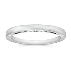 14k White Gold Wedding Band for Her