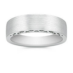 14k White Gold Wedding Band for Him (5.5mm)