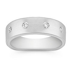 Round Diamond Wedding Band for Him