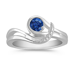 Round Sapphire Ring in Sterling Silver