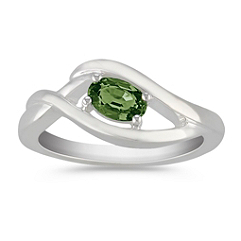 Oval Green Sapphire Ring in Sterling Silver