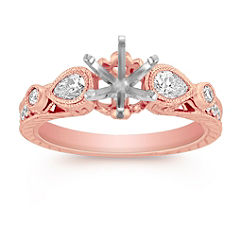 Three-Stone Vintage Pear Shaped and Round Diamond Engagement Ring in Rose Gold