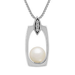 6.5mm Cultured Freshwater Pearl and Round Diamond Pendant (18 in.)