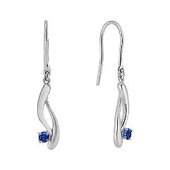 Round Sapphire Swirl Fish Hook Earrings in White Gold