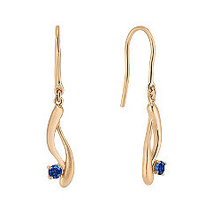 Round Sapphire Swirl Fish Hook Earrings in Yellow Gold