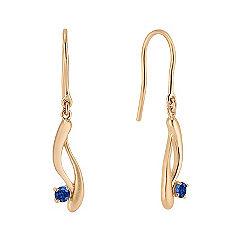 Round Sapphire Swirl Fish Hook Earrings in Yellow Gold
