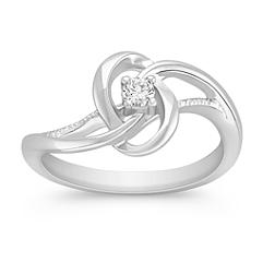 Swirl Diamond Sterling Silver Ring
