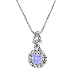 Lavender Round Sapphire, Marquise and Round Diamond Pendant (22 in.)