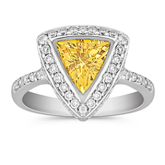 Trillion Yellow Sapphire and Round Diamond Ring