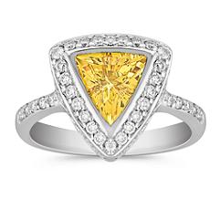 Trillion Yellow Sapphire and Round Diamond Ring