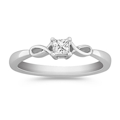 Princess Cut Diamond Ring in Sterling Silver