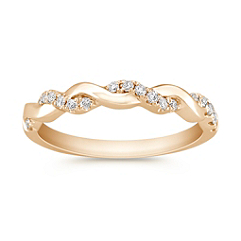 Interwoven Diamond and 14k Yellow Gold Infinity Wedding Band