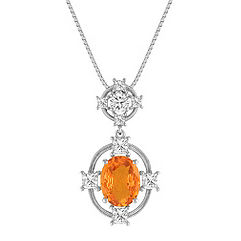 Oval Orange Sapphire, Princess Cut and Round Diamond Pendant (18 in.)
