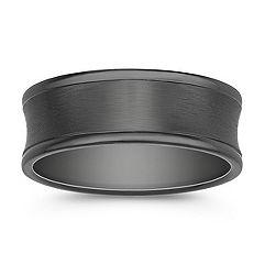 Black Concave Titanium Comfort Fit Ring (7.5mm)