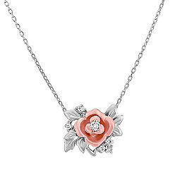 14k White and Rose Gold Diamond Pendant (18 in.)
