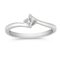 Princess Cut Diamond Ring in Sterling Silver