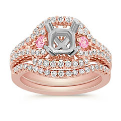Halo Round Pink Sapphire and Diamond Wedding Set